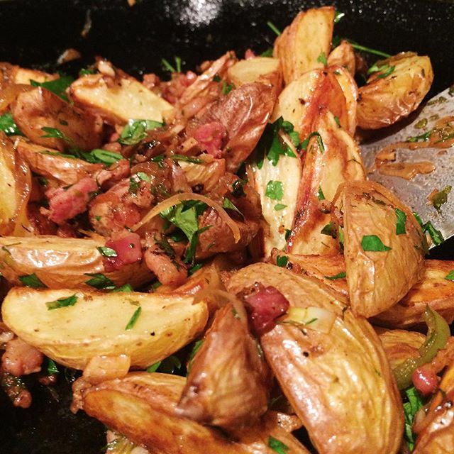 roasted potato hash with bacon