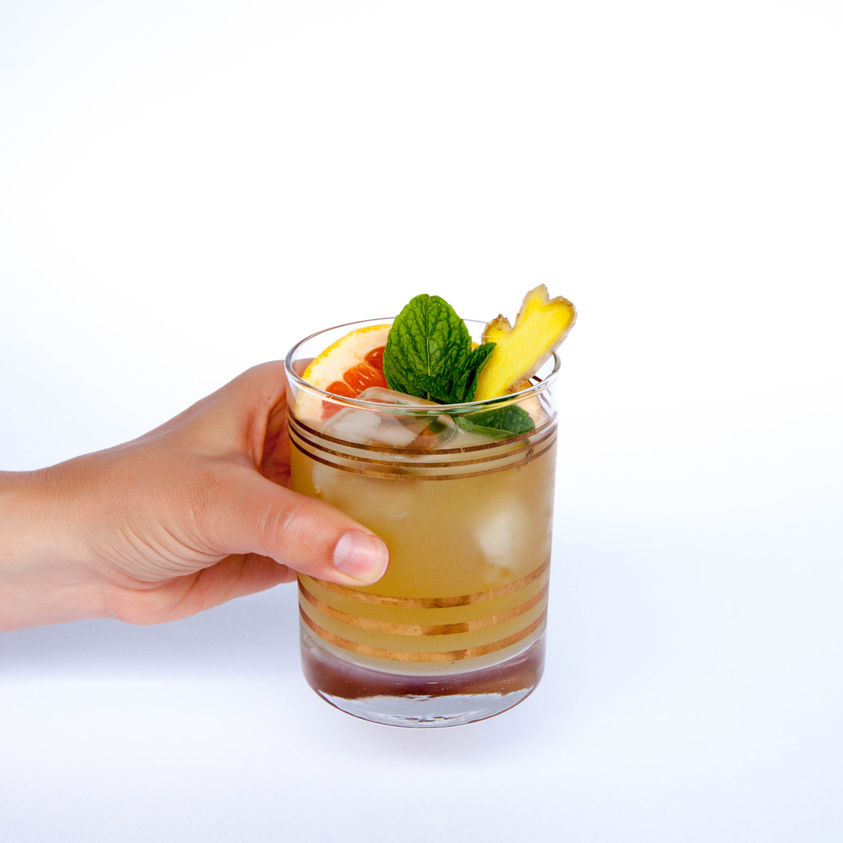 ginger mint paloma with cbd bitters